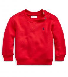 Ralph Lauren Baby Boys Red Cotton-Blend-Fleece Sweatshirt