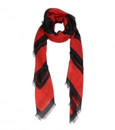 Givenchy Red Black Logo Scarf
