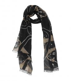 Beige Panther Print Scarf