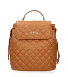 Brown Quilted Small Backpack