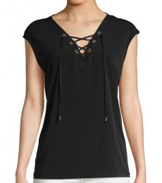 Black Lace-Up Sleeveless Top