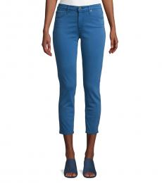 Blue Mid-Rise Crop Jeans