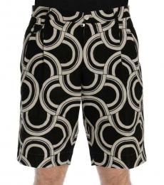 Dolce & Gabbana Black White Linen Shorts