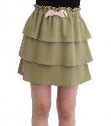 Green Ruffled Mini Skirt
