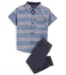 DKNY 2 Piece Shirt/Jogger Set (Little Boys)