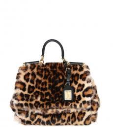 Dolce & Gabbana Leopard Print Sicily Eco Fur Small Satchel