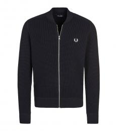 Fred Perry Black Logo Embroidery Knitted Cardigan