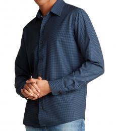 Dark Blue Contrast Printed Woven Shirt