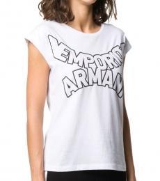 Emporio Armani White Curved Logo T-Shirt