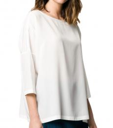 White Silk Crepe Blouse