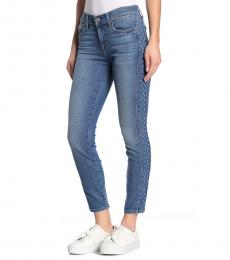 Light Blue Patchwork Skinny Jeans