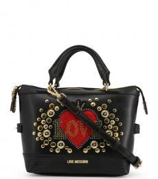 Love Moschino Black Embellished Medium Satchel