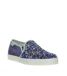 Violet Sequined Loafers