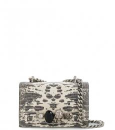 Natural Textured Embellished Mini Crossbody
