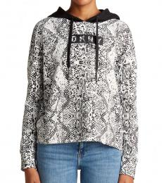 White Patterned Logo Hoodie