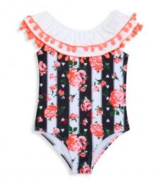Betsey Johnson Baby Girls Black & White Pom-Pom One-Piece Swimsuit