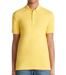 Versace Collection Yellow Medusa Logo Embroidery Polo