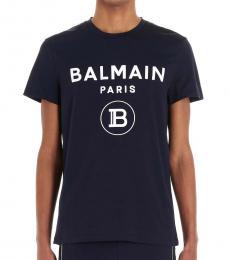 Balmain Navy Blue Flock Logo T-Shirt