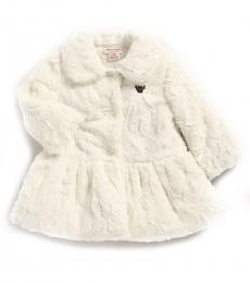 Baby Girls White Collared Peplum Jacket