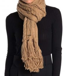 Michael Kors Camel Pointelle Cable-Knit Scarf