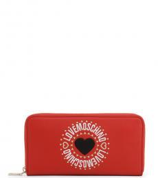 Love Moschino Red Round Logo Wallet