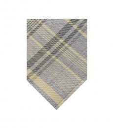 Calvin Klein Yellow-Grey Tri Plaid Tie