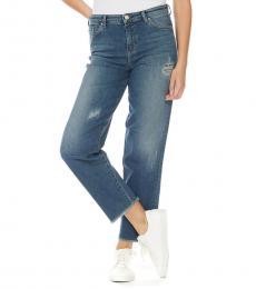 Armani Jeans Dark Blue Wide Leg Logo Jeans