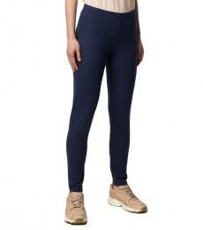 Emporio Armani Navy Blue Cotton Classic Leggings