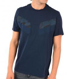 Neil Barrett Dark Blue Patches Camo T-Shirt