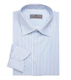 Canali Light Blue Tonal Stripe Dress Shirt