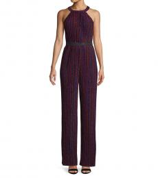 BCBGMaxazria Multi color Striped Wide-Leg Jumpsuit