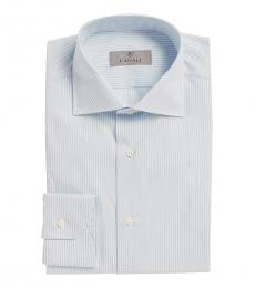 Canali Light Blue Stripe Modern Fit Dress Shirt