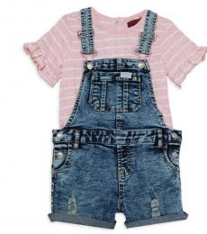 7 For All Mankind 2 Piece T-Shirt/Shortall Set (Little Girls)