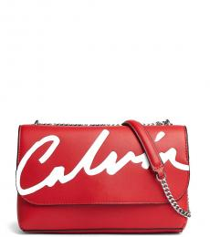 Red Logo Flap Large Shoulder Bag
