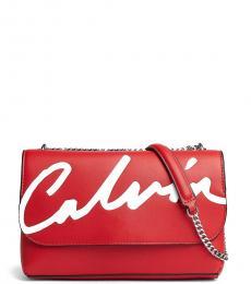 Calvin Klein Red Logo Flap Large Shoulder Bag