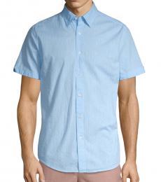 Ben Sherman Light Blue Polka Dot Short-Sleeve Shirt