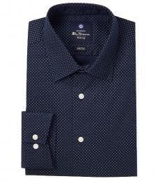 Ben Sherman Navy Blue Pindot Tailored Dress Shirt