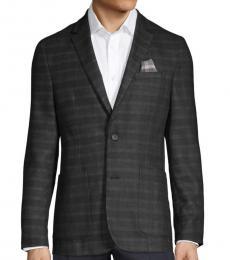 Vince Camuto Black Striped Notch Standard-Fit Jacket
