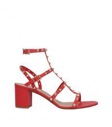 Valentino Garavani Red Rockstud Ankle Strap Heels