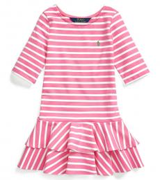 Ralph Lauren Little Girls Baja Pink Striped Stretch Jersey Dress