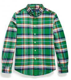 Boys Green/Orange Plaid Cotton-Linen Shirt