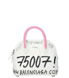 Balenciaga White Graphic Mini Satchel