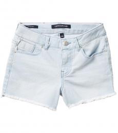 Girls Sky Blue Boyfriend Fit Cut Off Denim Shorts