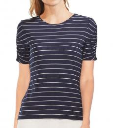 Vince Camuto Navy Blue Stripe Ruched Sleeve Tee