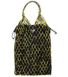 Prada Black Yellow Mesh Net Large Bucket Bag