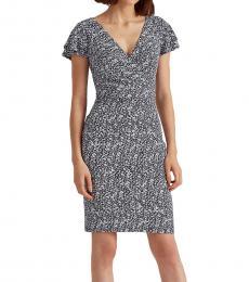 Ralph Lauren Blue Floral Flutter-Sleeve Dress