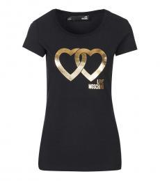 Love Moschino Black Crew Neck Logo Tee