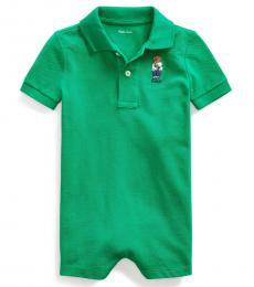 Ralph Lauren Baby Boys Chroma Green Fanny Pack Bear Shortall