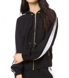 Michael Kors BlackWhite Contrast Stripe Hooded Jacket