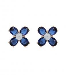 Tory Burch Blue Clover Stud Earrings